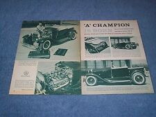 """1928 Ford Mode A Roadster Pickup Vintage Hot Rod Article """" 'A' Champion is Born"""""""