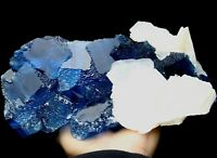 Gem-Grade!!! Ladder-like Blue Fluorite & Calcite Symbiosis Specimen/China Y01258