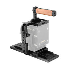 "CAMVATE Camera Half Cage with 12"" ARRI Dovetail Bridge Plate Wooden Top Handle"