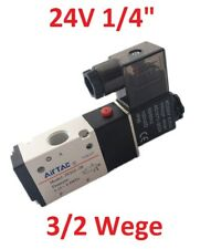 "Pneumatik Ventil 3/2 Wegeventil 24V DC 1/4"" Zoll 1,5 - 8 bar Pneumatikventil Neu"