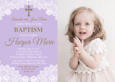 Baptism Invitation, Christening, Confirmation, First Communion, Gold