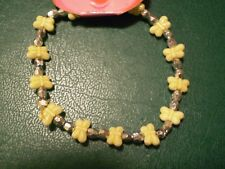 Yellow Butterfly & Silver Bead Bracelet - B169