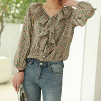 Lady Floral Chiffon Blouse Top Shirt Ruffle Casual Retro Loose Long Sleeve Basic