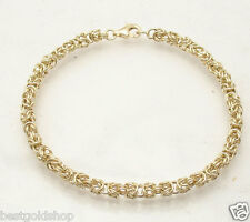 4mm Round Byzantine Bracelet Real 14K Yellow Gold Lobster Clasp ALL SIZES