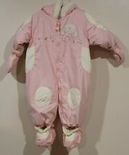 Euc Gagou Tagou Signature Girls Pink Snap on Mitts/Booties Snowsuit Size 9 Month