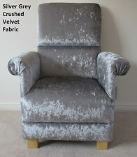 Silver Grey Crushed Velvet Fabric Adult Chair Bedroom Kitchen Nursery Armchair