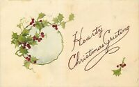 DB Christmas Postcard L376 Hearty Christmas Greeting Dated 1915 Holly Vignette