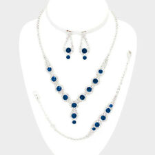 Montana blue diamante necklace bracelet earring set sparkly bling prom 0531