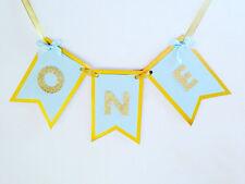 Uno blu oro Seggiolone Banner, Gold Glitter Striscione di auguri, primo compleanno