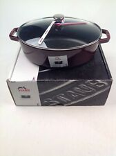 Staub Glass Lid New 4-qt Shallow Oval Cocotte in Color Grenadine