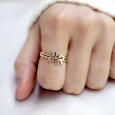 14k Yellow White Gold - Women Initial Alphabet Letter Ring Stackable Band (N-Z)
