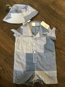 NWT Baby Gap boy blue plaid SUMMER SPRING EASTER romper hat 2-piece SET 0 3 6