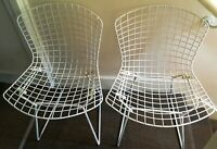 Harry Bertoia Knoll 2 x White Wire Side Chairs, circa 1950-60 :Vintage Original