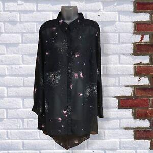 ANNA SCHOLZ - Womens UK Large Black Pattern Sheer Chiffon Longline Button Shirt