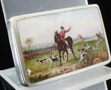 Silver & Enamel Snuff Box Vesta Case, Birmingham 1890, Howard James