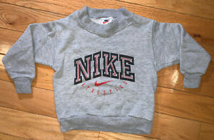 Vintage 90s Nike Swoosh Kids Boys Girls Pullover Fleece Sweatshirt Gray Size 4