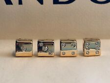 RARE 1 PANDORA Diamond & 14k Gold Dice Charm 750469d Las Vegas Craps Die