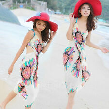 Female Deep V Wrap Chiffon Swimwear Bikini Cover Up Beach Shawl Scarves Dress