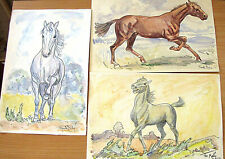 Frantisek MALY Czech Artist 3 Old Watercolor Pencil & Ink Horse Drawings Signed