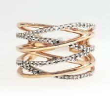 Rose White Gold Two Tone Diamond Stackable Fashion Ring Anniversary Ladies Band
