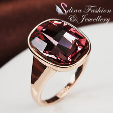 18K Rose Gold Plated Made With Swarovski Crystal Extra Sparkling Amethyst Ring