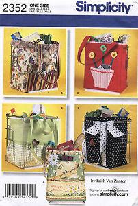 Simplicity Shopping Bags Pattern 2352 UNCUT