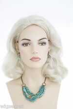 Shoulder Length Blonde Grey Brunette Red Straight Wavy Skin Top Wigs