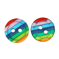 10 Multi coloured Striped Resin Sewing Buttons 12mm Great Value Free P&P