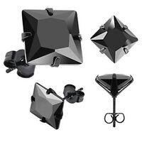 One Pair of Black Princess Cut CZ Gem Black IP Surgical Steel Stud Earrings