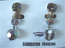 BOUCLE D'OREILLE CRISTAL BOHEME CLIP VINTAGE 70 NEUF /OLD NEW CRISTAL EARRINGS