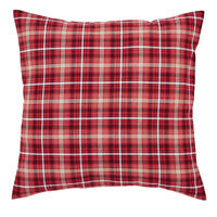 BRAXTON Euro Sham Plaid Red/Natural/Black Primitive Rustic Cotton 26x26 VHC