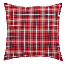 BRAXTON Euro Sham Plaid Red/Natural/Black Primitive Rustic Cotton 26x26 VHC