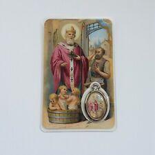 mama-estelle Card Carte Prière avec Médaille Colorée de Saint NICOLAS Enfants