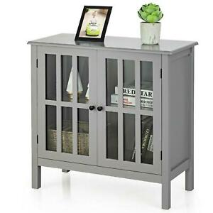 Glass Door Sideboard Console Storage Buffet Cabinet Wooden Furniture Multi New