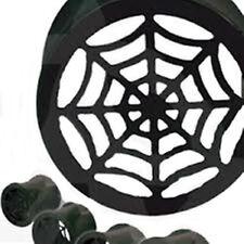 "Flare Ear Tunnels 14mm/9/16"" Gauge B Pair-Spider Web Black Titanium Ip Double"