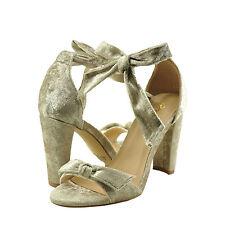 Women's Shoes Qupid Goodney 01 Velvet Ankle Wrap Heel Champagne *New*