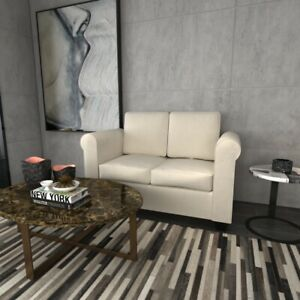 Modern Loveseat Fabric Sofa Bed Armchairs With Classic Wooden Leg  Living Room