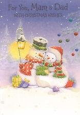 "cute MAM AND DAD christmas card 7.5"" x 5.5"" happy christmas"