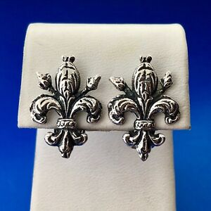Antique 800 Fine Silver Detailed Artisan Fleur De Lis Clip On Stud Earrings