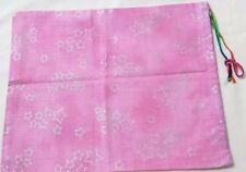 Cotton Drawstring Pouch, Gift bag Treasure Bag  Handmade pink with silver stars