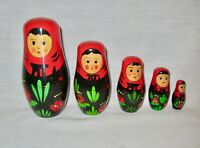 5 Piece ~ Wooden Girls Nesting Dolls ~ Made In China~Red, Black, Green