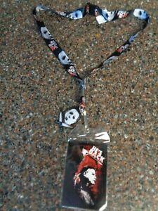 Halloween Michael Myers Lanyard with Rubber Mask Key Charm ID Badge NEW