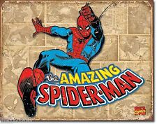 AMAZING SPIDERMAN /MARVEL COMICS;ANTIQUE-STYLE METAL WALL SIGN 40X30cm, HEROES