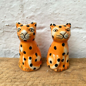 Ceramic Cheetah Cat Safari Novelty Condiment Salt & Pepper Shaker Pot Cruet Set