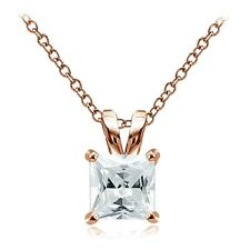 Rose Gold Tone over 925 Silver 3ct Cubic Zirconia 8mm Square Solitaire Necklace