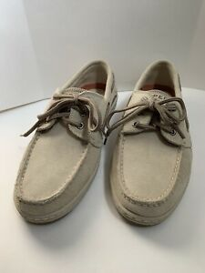 Sperry Beige Suede Boat Shoes Mens Slide On Size 8M