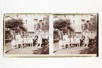 Francia Groupe Foto Amateur Francesi Stereo Placca Da Lente Positivo Vintage