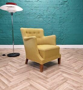 Mid Century Retro Vintage Danish Green Wool Small Lounge Arm Chair 1950s