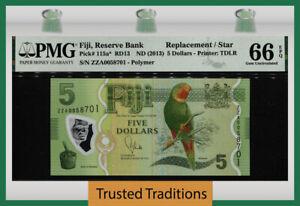 TT PK 115a* ND (2013) FIJI 5 DOLLARS KULAWAI STAR BANKNOTE PMG 66Q STUNNING GEM!
