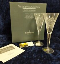 Waterford Crystal Millennium Health Toasting Flute Pair - New in Box - Free Ship
